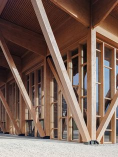Timber Architecture, Timber Buildings, Contemporary Architecture, Architecture Details, Parametric Architecture, Glass Curtain Wall, Timber Beams, Timber Structure, Wood Construction