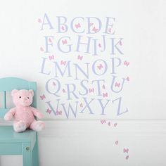 butterfly alphabet wall stickers by kidscapes | notonthehighstreet.com