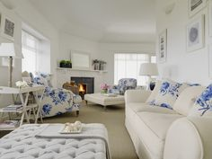 Helen Turkington Interiors: To The Beach House    I love the bold flower pattern used as accent pieces