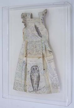 Gaye Lincoln    Protection (with Owl)   Reclaimed paper, graphite, watercolour, gold leaf, thread, perspex   49 x 66 cm