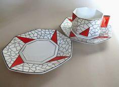 Art deco CUBICO shape porcelain tea trio Coimbra, Portugal