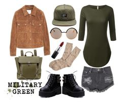 """""""Military Green"""" by urbancleo ❤ liked on Polyvore featuring Glamorous, MANGO, Brooks Brothers, Marc by Marc Jacobs, 3.1 Phillip Lim, MAC Cosmetics, outfit, GREEN, army and military"""