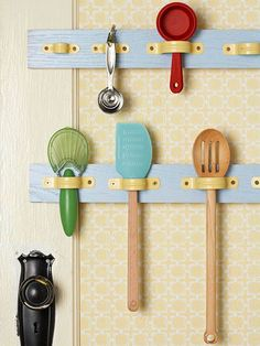 Use standard hardware from a Home Improvement store to create easy to access utensil storage. From I Heart Organizing