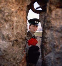 Un soldado de la República Democrática Alemana pasa una flor por el muro de Berlín en 1989