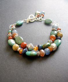 MultiStone Beaded Bracelet. Gemstone by SimpleElementsDesign