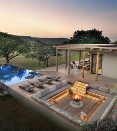 Dream Home Design, House Design, Villa Design, Garden Design, Sunken Fire Pits, Design Exterior, Backyard Pool Designs, Backyard Landscaping, Dream House Exterior