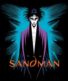 """My design for the Graphitti Designs Sandman IV T-shirt (1993). This version is a recreation that utilizes scans of the original art and mechanicals, and appears in The Absolute Sandman, Volume 4. Art note: The radiating lines that surround the figure of Dream were created from high-contrast photocopies of flower parts."" -Marc Hempel"