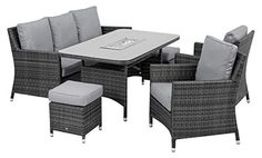 Maze Rattan Venice Sofa Dining Set with Luxury Inset Ice Bucket Table in a Mixed Grey Weave