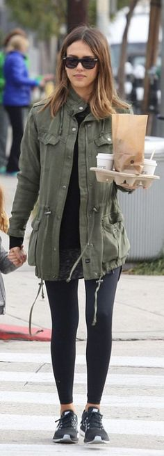 Celebrity street style | Khaki military jacket with leggings and sneakers