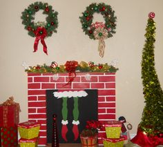 DIY Grinch fireplace