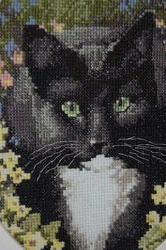 COMPLETED CROSS STITCH Black Kitty In The by XSCrazyAndMore, $60.00