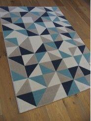 Tapis Triangles Scandinaves Gris Et Bleu Canvas Zoom Les Tapis