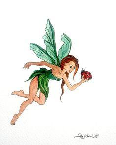 Faela Fairy saving Mike the Ladybird. Watercolour on Card