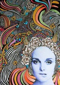 """Saatchi Online Artist Linda Lovenstein; Drawing, """"Mescaline"""" #art I could try this by combining my kiwi lino print with kiwi face paint photograph"""