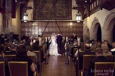 A beautiful wedding ceremony in Meadow Brook Hall's ballroom