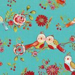Dena Designs Love & Joy Birds Aqua [FS-DF154-Aqua] - $10.99 : Pink Chalk Fabrics is your online source for modern quilting cottons and sewing patterns., Cloth, Pattern + Tool for Modern Sewists