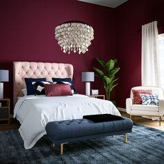 Red Bedroom Design, Bedroom Wall Colors, Bedroom Red, Bedroom Color Schemes, Home Decor Bedroom, Interior Design, Bedroom Artwork, Canopy Bedroom, Bedroom Apartment