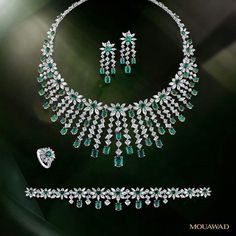 @mouawadjewelry.   A magnificent array of pure white #diamonds is enlivened by the intense green glow of stunning #emeralds in the Twilight Garden suite. #MouawadDiamondHouse #HighJewelry #RareJewels