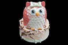 Pink owl cake.  Gâteau hibou rose.
