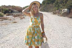 Vintage 50s Orange and Yellow Floral Dress w/ Spaghetti Straps XS #whendecadescollide #1950s #1950sdress #vintagedress