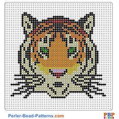 Tiger Head Perler Bead Pattern and Designs Perler Bead Templates, Perler Patterns, Loom Patterns, Beading Patterns, Intarsia Knitting, Pixel Design, Melting Beads, Pearler Beads, Rock Crafts