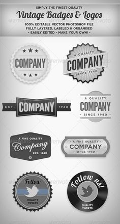 Vintage Blank & White Badges - GraphicRiver Item for Sale http://graphicriver.net - #logo