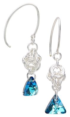 Jewelry Design - Earrings with Swarovski Crystal Triangle Pendant Drops and Chainmaille - Fire Mountain Gems and Beads