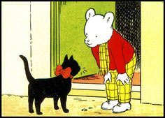 "Rupert Bear - ""Dinkie's Silky Bow"" - writer and illustrator Alfred Bestall Rabbit Pictures, Bear Pictures, Cat Stands, Children's Book Illustration, Retro Illustrations, Comic Character, Cool Cats, Cat Art, Childhood Memories"