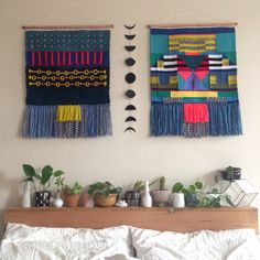 Weave weaving wall hanging tapestry by Maryanne Moodie Weaving Wall Hanging, Weaving Art, Weaving Patterns, Tapestry Weaving, Loom Weaving, Tapestry Wall Hanging, Hand Weaving, Art Textile, Weaving Projects
