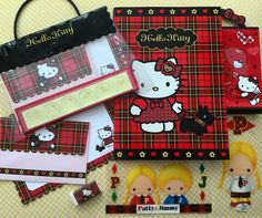 "71 Likes, 7 Comments - Lindy Mojica (Puerto Rico) (@linlan_kitty_land) on Instagram: ""Hello Kitty Tartan(Plaid) letter set with vinyl bag(2003),Hello Kitty Tartan goodies and Patty &…"""
