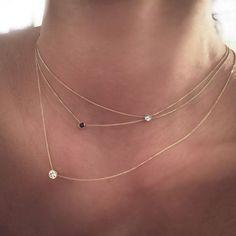 14 k Gold winzige zarte Solitär-Diamant-Halskette von cestsla