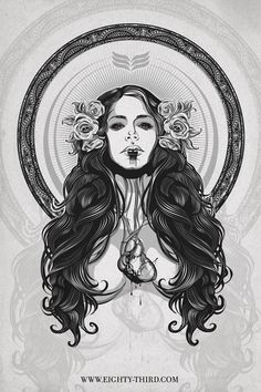 Very dark (both in color and in emotion) and beautiful. Reminds me of a sugar skull girl without the tons of makeup. I love the detail in the hair and the design in the circle that's surrounding her. Little hints of design like that can really make a piece of artwork pop.