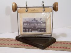 Mid Century Office Decor Photo Business Card Holder Rolodex Style