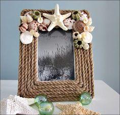 Nautical Decor Rope Frame - Beach Decor Shell Frame w Seashells by Emel Beach Crafts, Diy And Crafts, Arts And Crafts, Frame Crafts, Diy Frame, Deco Marine, Rope Frame, Rope Mirror, Seashell Projects