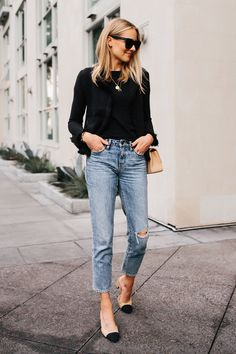 169e5bcb2b2b6b Blonde Woman Wearing Black Tweed Relaxed Jacket Jeans Outfit Chanel Tan  Diana Handbag Chanel Slingback Shoes