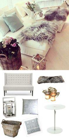 #fur #livingroom #relax #winter #holidays #decor #candles #lantern #basket #chic #shabbychic #adoredecor #home #design #feminine