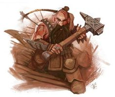 Dwarf warrior with a hammer and leather armor.  The sturdy bodies of the dwarfs are only matched by their stout hearts