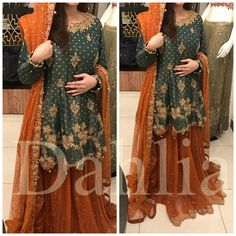 For orders email at clothing.dahlia@gmail.com or dm on fb insta. We ship worldwide, made to measure Pakistani Bridal Couture, Pakistani Fashion Party Wear, Pakistani Formal Dresses, Pakistani Wedding Outfits, Indian Dresses, Indian Suits, Stylish Dress Designs, Stylish Dresses, Fashion Dresses