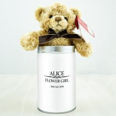 Heritage Wedding Male Personalised Teddy in a Tin Engraved Wedding Gifts, Wedding Gifts For Bride And Groom, Personalized Wedding Gifts, Gifts For Boys, Boy Gifts, Flower Girl Gifts, Page Boy, Tin, Bridesmaid