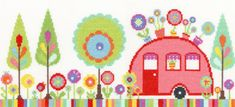 Funky Caravan Cross Stitch - Bothy Threads cross stitch kit designed by Caroline Rose.  The design uses only whole cross stitch so could be suitable for a beginner to stitching.