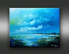 Mer orageuse ©Bruni Eric House Landscape, House Painting, Les Oeuvres, Landscapes, Houses, Paintings, Colours, Canvas, Gallery