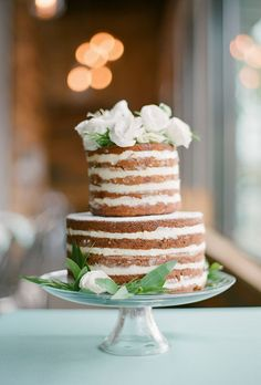 Two-Tiered Naked Carrot Cake with Fresh Flowers Naked Wedding Cakes