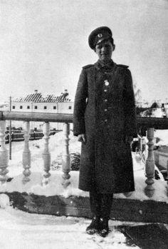 Alexei on balcony Governors house Tobolsk , probably last photo of him.