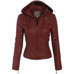 BOHENY Women's Faux Leather Zip Up Everyday Bomber Jacket ($28) ❤ liked on Polyvore featuring outerwear, jackets, zip up jacket, blouson jacket, vegan leather jacket, red zip up jacket and imitation leather jacket