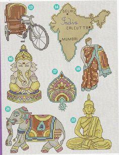 GRAFICOS PUNTO DE CRUZ GRATIS : ARABE Y INDIA