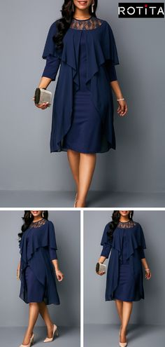23a335b3f1d There s no such thing as too much navy blue.Make a statement in this midi-length  dress with trending styles feature layers of flowing navy fabric that will  ...