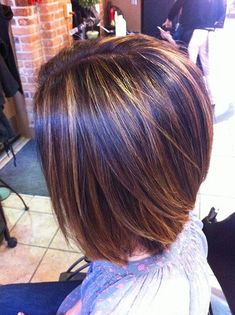Short Dark Brown Hair With Caramel Highlights