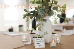 MALLORI MA | Photography         Guests were invited to take the succulent centerpieces home.   Venue:    Ellery Farms  Floral Design:    Botanical Event Design