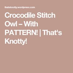 Crocodile Stitch Owl – With PATTERN! | That's Knotty!