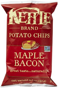 Maple Bacon Potato Chips by Kettle Brand - 100% Vegan.